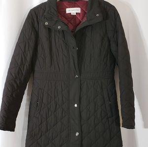 Liz Claiborne Puffer Zipper Snaps Black Coat